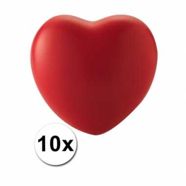 10 hartvormige stressballetjes rood