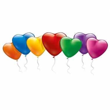 100x gekleurde hartjes ballonnen