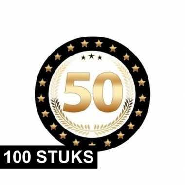 100x luxe bierviltjes 50 jaar zwart/goud