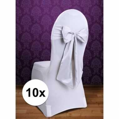 10x bruiloft stoel decoratie witte strik