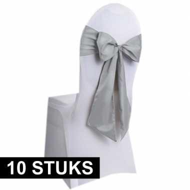 10x bruiloft stoel decoratie zilveren strikken