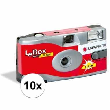 10x bruiloft/vrijgezellenfeest wegwerp camera 27 fotos met flits