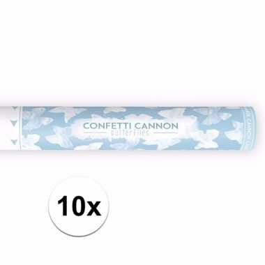 10x confetti kanon witte vlinders 40 cm