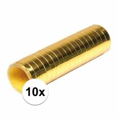 10x goudkleurige serpentine rollen