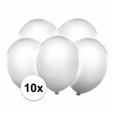 10x stuks witte led licht ballonnen 30 cm