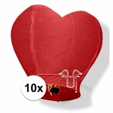 10x wensballon rood hart 100 cm