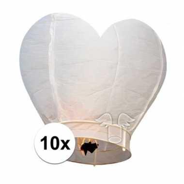 10x wensballon wit hart 100 cm