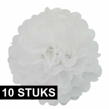 10x witte decoratie pompoms 35 cm bruiloft versiering