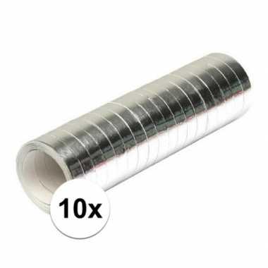 10x zilverkleurige rollen serpentine