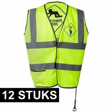 12x geel veiligheidsvestjes drunken people voor heren