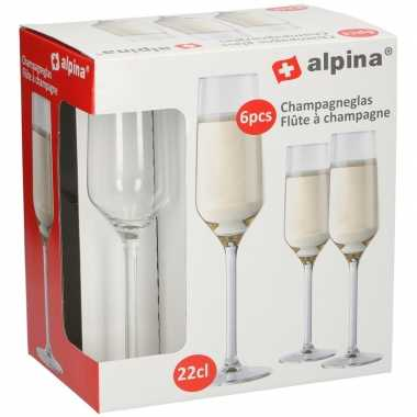 12x stuks feest bruiloft champagneglazen stuks 22 centiliter