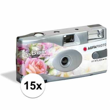 15x bruiloft wegwerp cameras met flitser voor 27 kleuren fotos