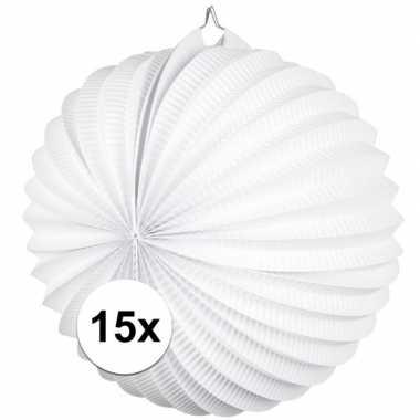 15x lampionnen wit 22 cm