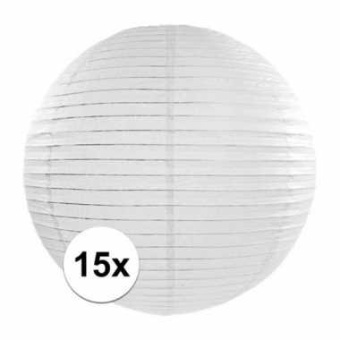 15x luxe witte bol lampionnen van 35 cm