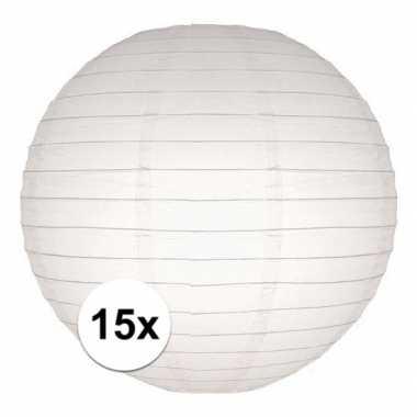 15x stuks luxe bol lampionnen wit 25 cm