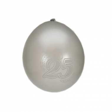 16x ballonnen zilver 25 jaar thema