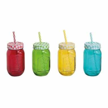 1x rode drinkbekers/drinkglazen mason jar 450 ml/8 x 14 cm with straw