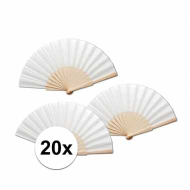 20 stuks zomerse spaanse waaiers wit