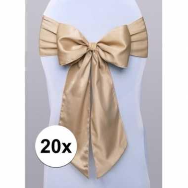 20x bruiloft stoel decoratie gouden strik