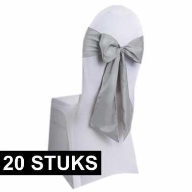 20x bruiloft stoel decoratie zilveren strikken
