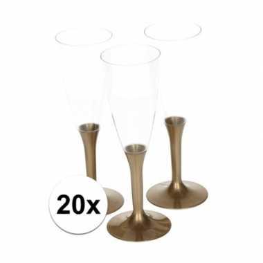 20x glazen met gouden voet