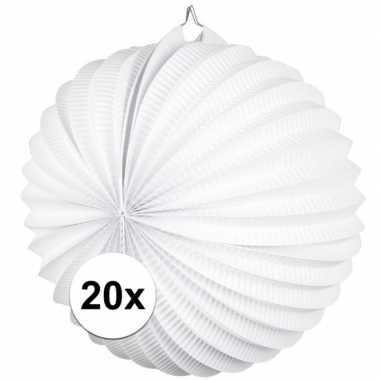 20x lampionnen wit 22 cm