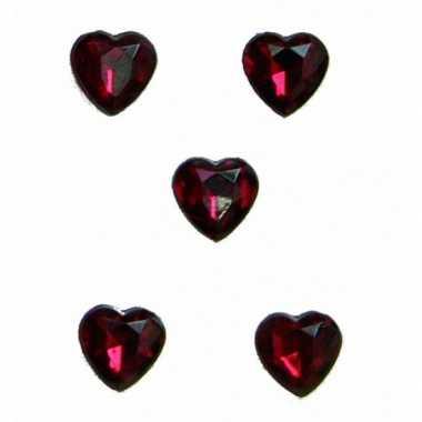 20x stuks rode decoratie hartjes diamanten 1 cm