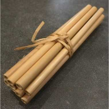 24x duurzame bamboe houten rietjes 20 cm