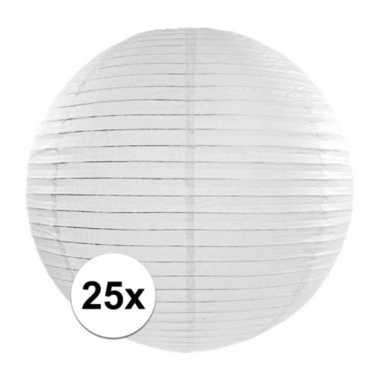 25x luxe witte bol lampionnen van 35 cm