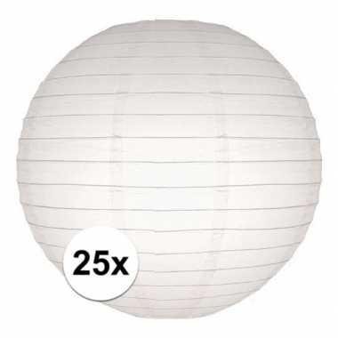25x stuks luxe bol lampionnen wit 25 cm