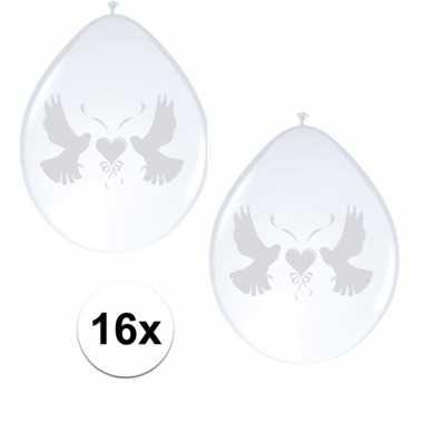 2x ballonnen wit met duif 8 stuks
