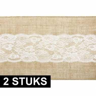 2x bruiloft/huwelijk jute tafelloper 28 x 275 cm met wit kant
