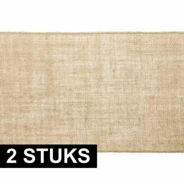 2x bruiloft/huwelijk jute tafellopers/placemats 28 x 500 cm