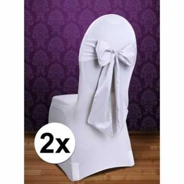 2x bruiloft stoel decoratie witte strik