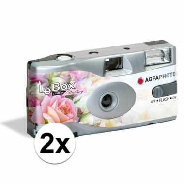 2x bruiloft wegwerp cameras met flitser voor 27 kleuren fotos