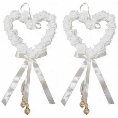 2x decoratie harten huwelijk 30 cm