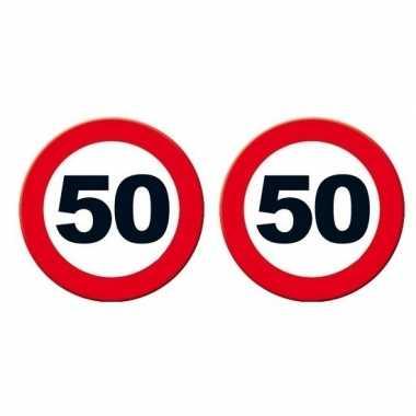 2x decoratie verkeersborden 50 jaar 49 cm