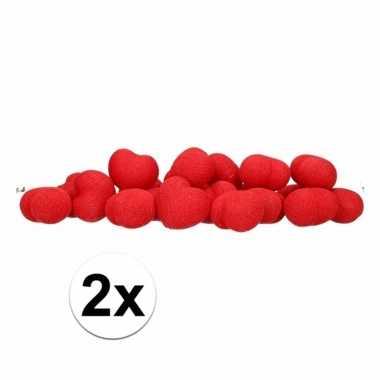 2x feestverlichting rode hartjes 20 lichtjes