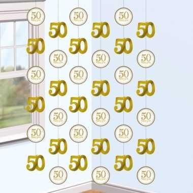 2x hangdecoratie slingers jubileum 50 jaar