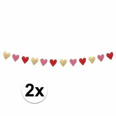 2x hartjes slinger rood, roze en goud 2 meter