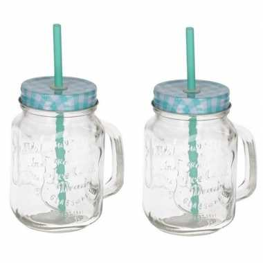 2x mason jars/smoothie bekers blauw met rietje 500 ml