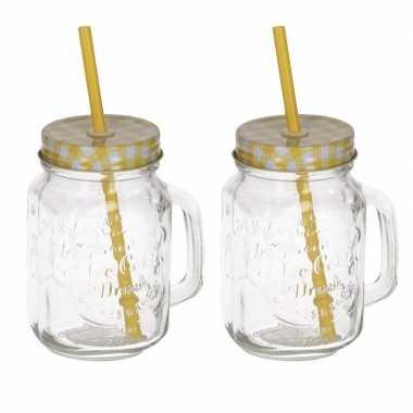 2x mason jars/smoothie bekers geel met rietje 500 ml