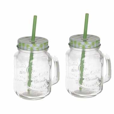 2x mason jars/smoothie bekers groen met rietje 500 ml
