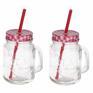2x mason jars/smoothie bekers rood met rietje 500 ml