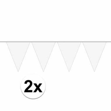 2x mini vlaggenlijn / slinger versiering wit