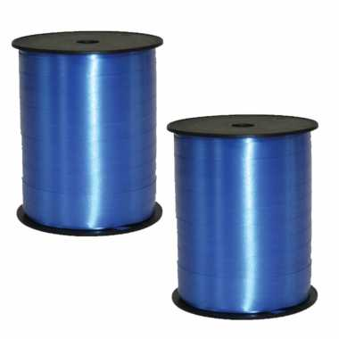 2x rollen cadeaulint/sierlint in de kleur blauw 5 mm x 500 meter