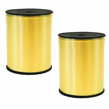 2x rollen cadeaulint/sierlint in de kleur geel 5 mm x 500 meter