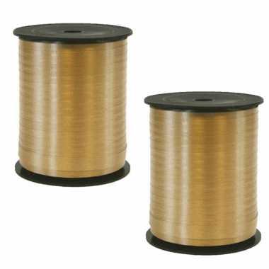 2x rollen cadeaulint/sierlint in de kleur goud 5 mm x 500 meter