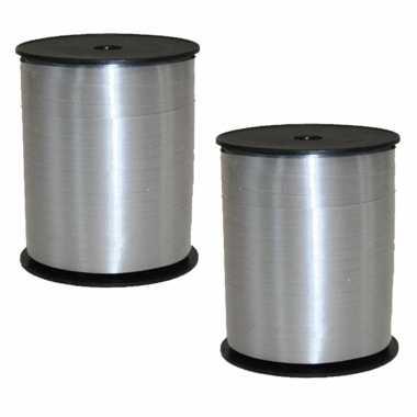 2x rollen cadeaulint/sierlint in de kleur zilver 5 mm x 500 meter