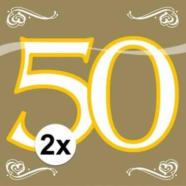 2x servetten 50 jaar goud 20 stuks